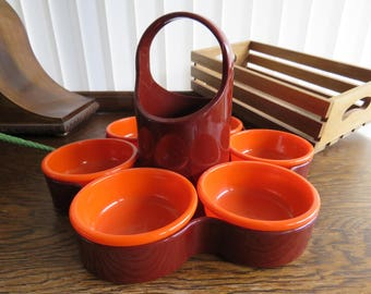 Retro Emsa plastic flower shaped party susan/snack tray in orange and red/brown.