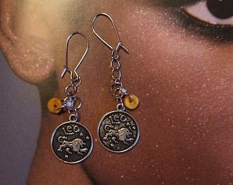 Silver Leo Zodiac Earrings