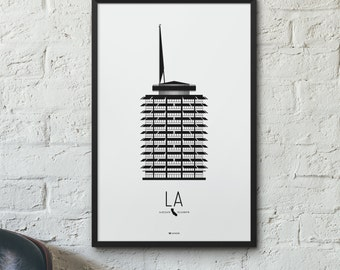 Los Angeles Icon City Print - Minimalist Poster - Capitol Records Building