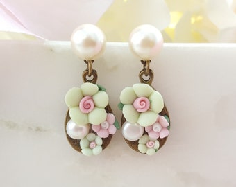 Mint Rose Earrings, Pink and Mint Earrings, Pink Flower Earrings, Pearl Earrings, Victorian Earrings, Pink Rose Porcelain Earrings, E8502