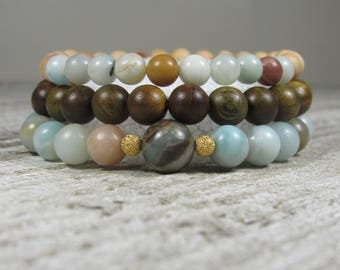 Amazonite, Sandalwood and Thuja Wood Triple Stack Bracelets with 22K Gold Plated Accent Beads