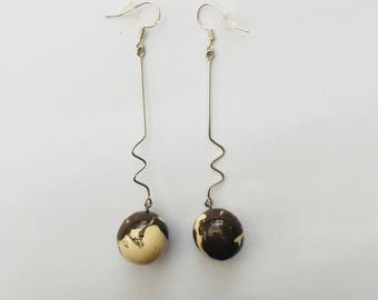 Black and white ceramic Stud Earrings