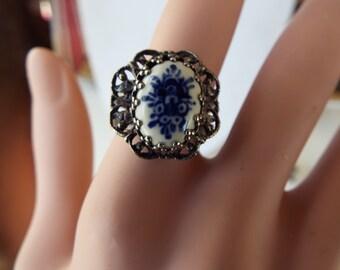 Dutch delft porcelain silver filigree floral  ring adjustable  blue white porcelain