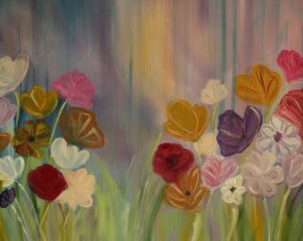 Cosmos fallow fields Figurative flowers painting