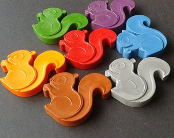 May Sale - 15% off - Squirrel shaped crayons  - Animal crayons - Woodland creatures - Party bags - Party favours - Birthday - Gift