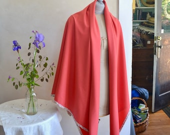 Large Wool Wrap Shawl Scarf or Throw Lightweight Coral Wool & Liberty Cotton Floral Binding