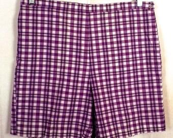vtg 50s 60s NOS deadstock Ladies Purple/White Plaid Bermuda Shorts High Waist 18