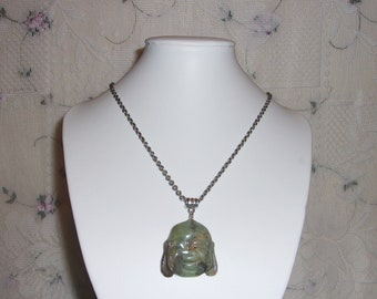 Carved Agate Green Smiling Face Buddha Good Luck Pendant Necklace