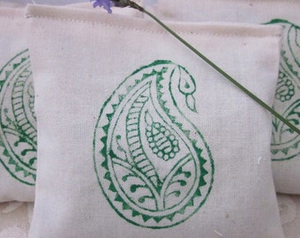 3 Green Paisley Block Printed Calico Lavender Sachets
