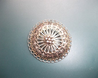 Vintage Mexican Silver 900 Signed M D Openwork Filigree Dome Brooch Pin