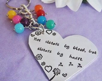 Best Friend Keyring - Best Friend Keychain - Hand Stamped Heart - Sister Keyring - Friend Gift - Christmas Gift - Personalised Bag Charm