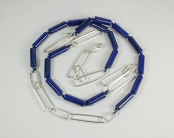 Genuine Lapis Lazuli Tube Beads Handmade Argentium Silver Link Chain Hand Knotted on Silk Necklace with Elongated Lobster Claw Silver Clasp