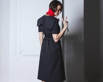 Dress with sailor collar, Minimalistic midi-dress with sailor collar, Little black dress, 1950s style, Lacing dress, Striped dress
