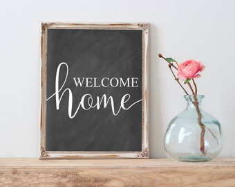 Welcome Home Printable, Chalkboard Print, Welcome Home Wall Art, Welcome Home Print, Welcome Home Quote, Welcome Home Decor, Farmhouse decor