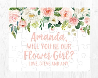 Flower Girl Proposal Card Flower Girl Puzzle Proposal Will You Be My Flower Girl Proposal Puzzle Flower Girl Proposal Gift Pink Green Cream
