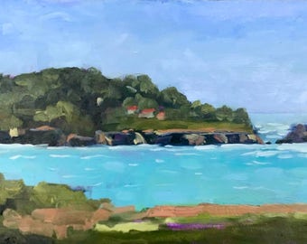 California Plein Air Landscape Beach Decor Original Painting Beach Home Wall Art Decor Original Artwork MENDOCINO COAST Mendocino Village