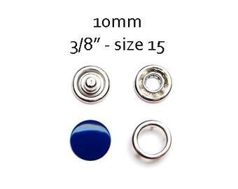 25 sets Metal Snap Fasteners 10MM . navy blue metal prong snap buttons . no sew metal snaps size 15. clothes fasteners. diaper snaps #700284