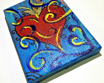 Heart Painting Acrylic on ACEO Sized Canvas ,Original Art