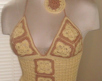 Granny Square Tan & Yellow Crochet Tank Top w/Matching Hoop Earrings---