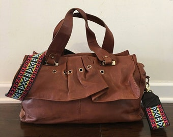 Gustto Brown Leather Satchel/Shoulder/Crossbody Leather Handbag