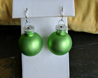 Green christmas ornament dangle earrings