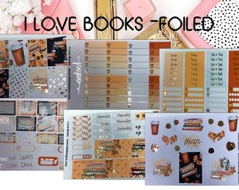I Love Books Foiled//6 Sheet Weekly Kit//Erin Condren//Happy Planner//Foiled Sticker Kits