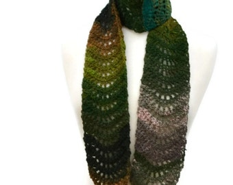 Crocheted Green Scarf, Unisex Multicolor Noro Scarf