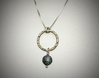 Sterling Medium Circle Necklace with Faceted Peacock Colored Freshwater Pearl