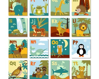 "Animal alphabet flashcards / 2"" square animal ABC flashcards/ printable ABC letters / animal flashcards / alphabet collage sheet"