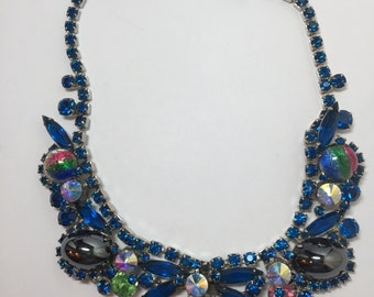 D&E aka Juliana Necklace Hematite and Sapphire Cabochons     Item: 17337