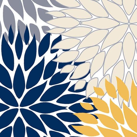 Navy Blue And Yellow Shower Curtain Floral Gray Beige Bath Dahlia Modern Bathroom Decor Chrysanthemum