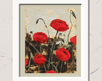 Poppies in Field, 8x10 Paper Print, Acrylic Painting, Poppies, garden, floral