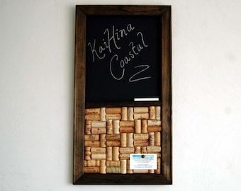 Wine Cork board & Chalkboard Combo Kitchen Organizer, Corkboard with Chalkboard Wall Organizer