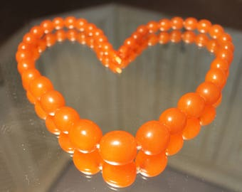 Genuine natural Baltic amber round beads necklace egg yolk butterscotch Antique Baltic 86 gr beads amber.Bernstein.天然琥珀古董