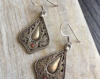 Short silver earrings, short dangle earrings, short earrings