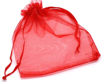 25 Organza bags, red organza bags 8.5cm x 7cm, party favor bags, jewelry bags, mesh bags, wedding favor bags, birthday party bags,