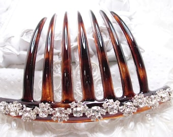 Hand made Rhodium Plated Swarovski Crystal elements Swirl Floral French Hair Comb Fascinator Comb Made in France