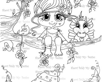 INSTANT DOWNLOAD Digital Digi Stamps Big Eye Big Head Dolls NEW Bestie Twinkle Toes Troll Scan0061 My Besties  By Sherri Baldy
