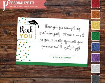 Graduation Party Thank You Card Template Glitter // Personalized Printable Download // Custom School Colors // 5x7 -OR- 4x6