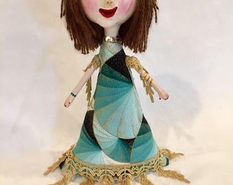 Handmade Pretty Flapper Girl Art Doll - Ooak Art Doll