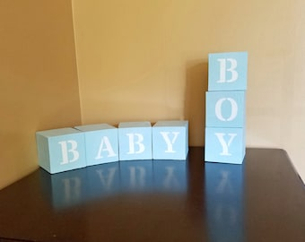 Baby Boy Baby Shower Blocks, Baby Blocks, Boy Blocks, Rustic Nursery Decor, Reversible Blocks, Baby Shower Gifts, Personalized, Customized
