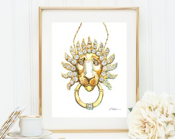 Lion Necklace Watercolor Rendering in Yellow Gold with Diamonds printed on Paper