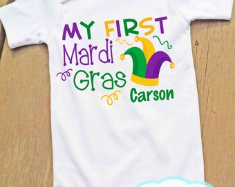 My First Mardi Gras Personalized Bodysuit - Mardi Gras - Boy or Girl Bodysuit