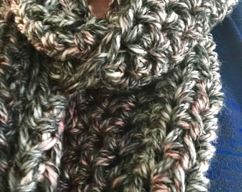 Gray/pink infinity scarf, extra long, Spring scarf, free shipping