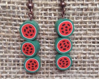Hand Sculpted Watermelon Earrings