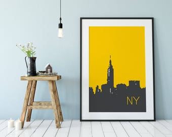 NYC Art, New York City Art, Digital Prints, Print New York, NYC, City Art Print, Art Living Room Decor, Modern Wall Art, New York Skyline