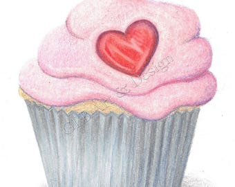 Pink cupcake note cards, cupcake card, love card, cupcake lover, cupcake gift, pink cupcake, note card set, handmade card, cupcake art, cake