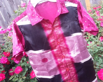 Youth Girls or Boys Short Sleeve, Ethnic Indian Sari Silk Button Down Shirt - Black and Mauve - Matching Father Daughter Son - Bodvar 3072