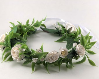 Flower Crown Babies Breath Crown White Rose Flower Crown