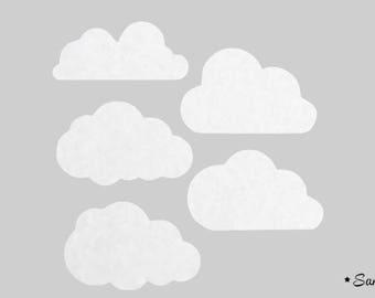 5 little clouds white fusible felt velvet fabric